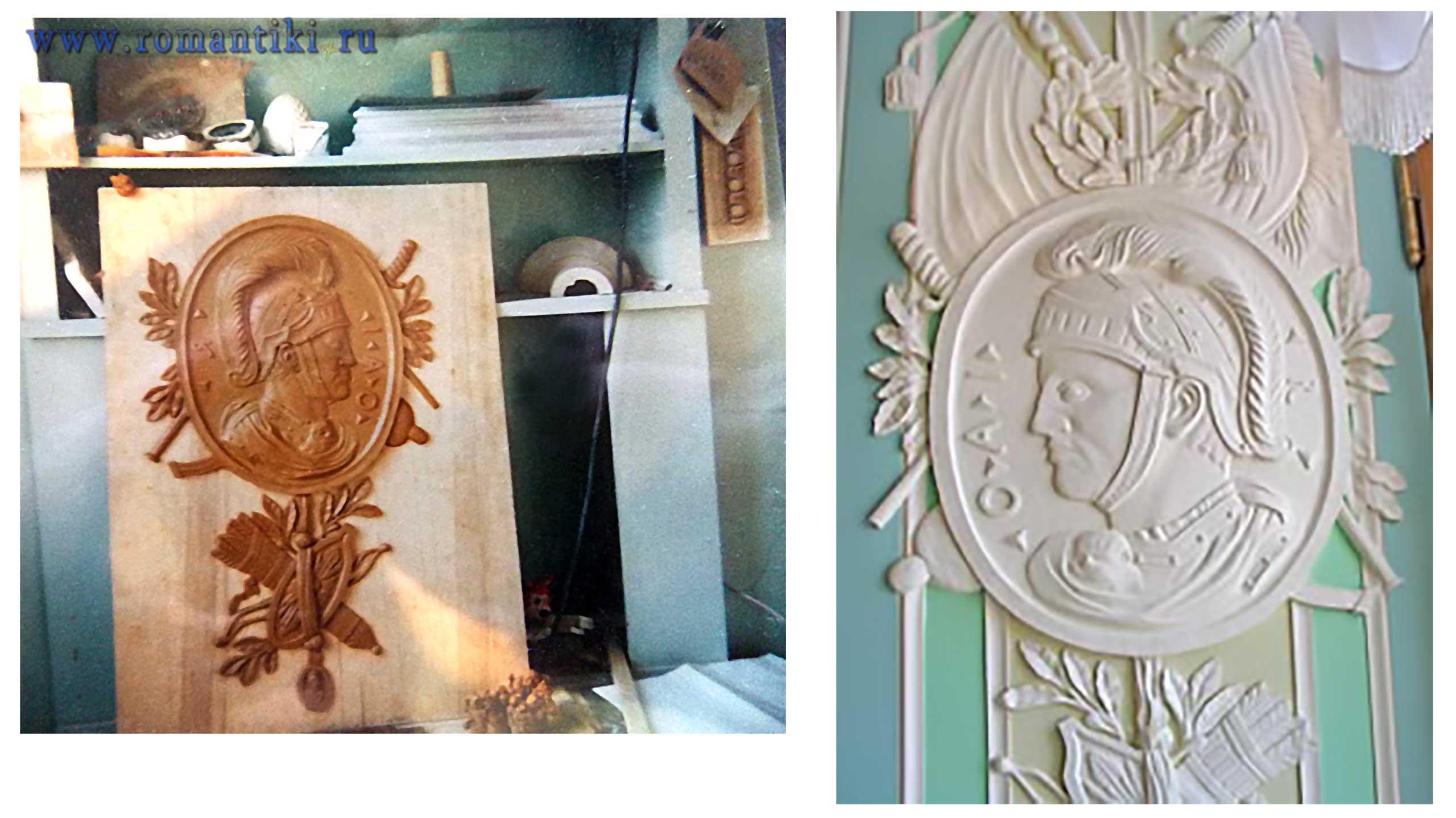 Работа реставратора О.Компаниец в пластилине и готовый вариант. Император Октавиан Август.